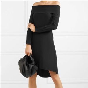 Theory Black Kensington Off Shoulder Dress